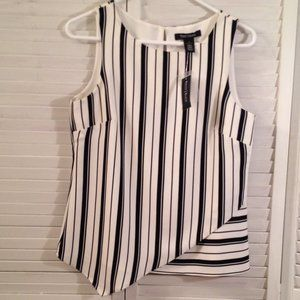 WH/BM 6 NEW Lined White Striped Summer Career Top